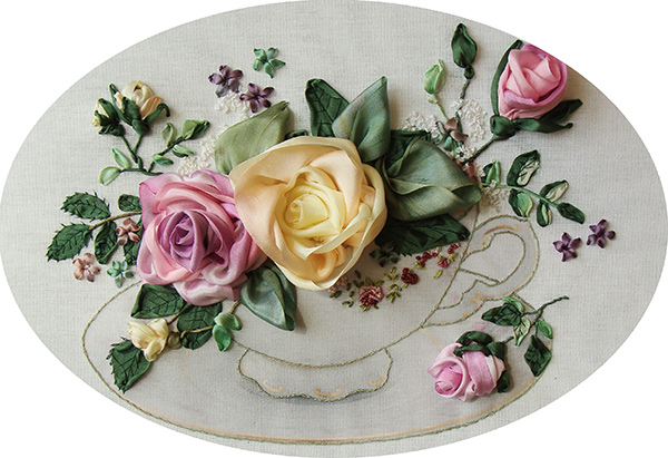 ribbon roses, silk ribbon flowers, ribbon embroidery roses, ribbon embroidery, silk ribbon, silk ribbon embroidery, kits for ribbon embroidery