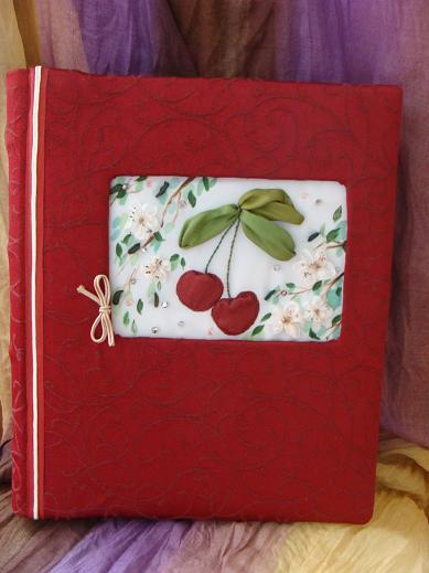 вышивка лентами фотоальбомы, фотокниги, вишневый цвет вышивка
