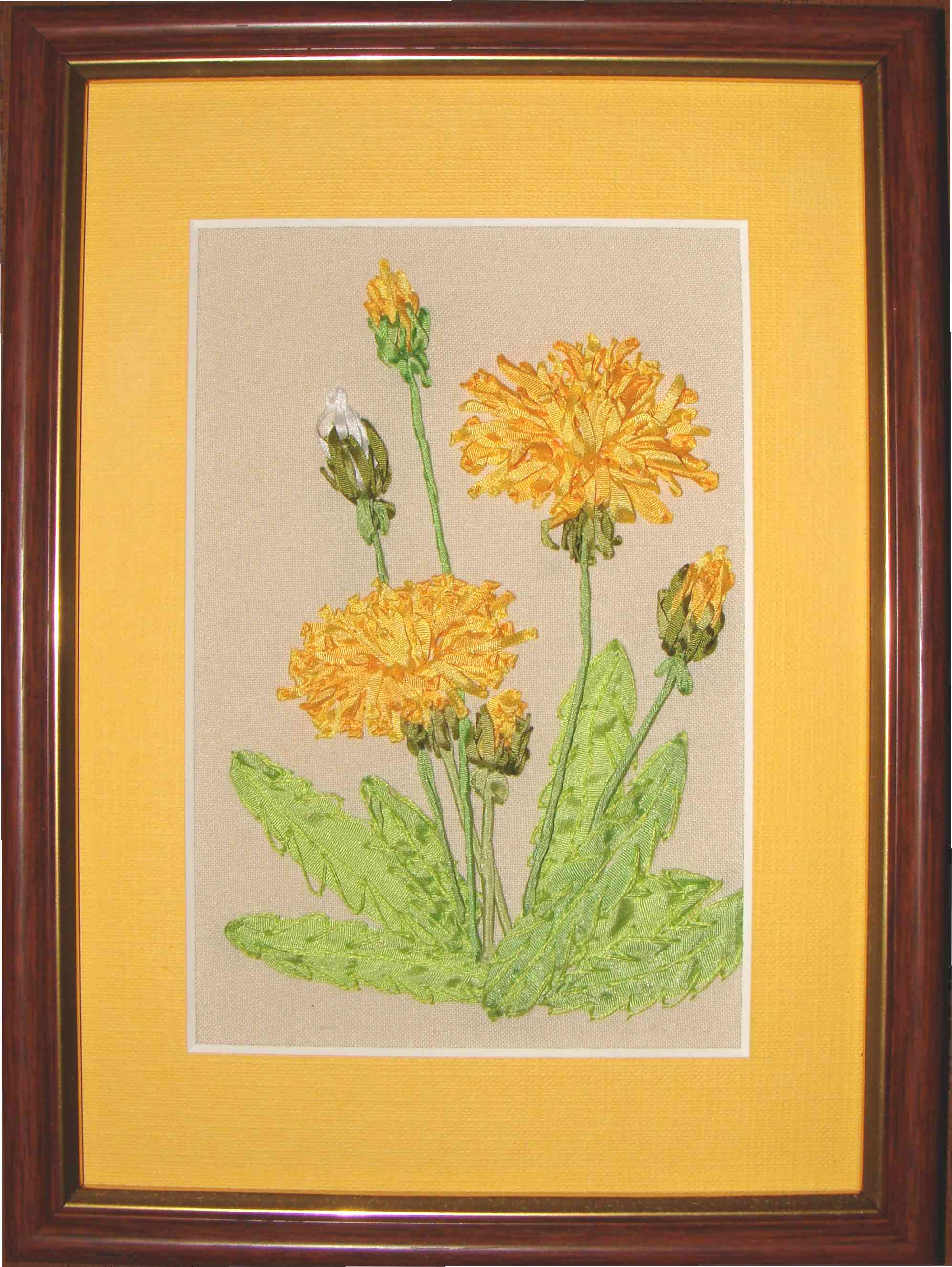 dandelion in silk ribbon embroidery, USA, Lithuania, Germany, Chess, Poland, Spane, ribbon embroidery kits, buy online, kits for intermediate level, Tatiana Popova embroidery designs, SRe, natural silk ribbon, yellow flowers, embroidered flowers