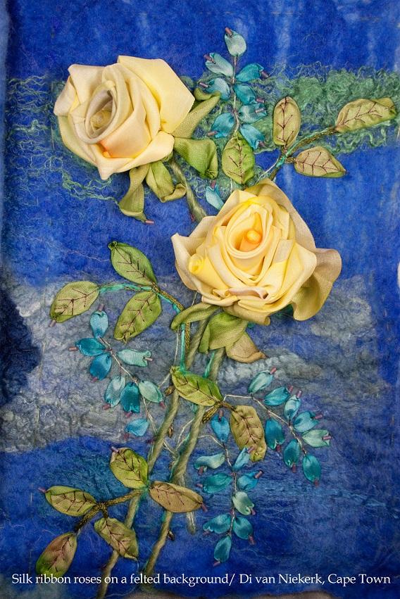 Выставки по вышивке Киев, Ди ван Никерк вышивка лентой мастер-класс, розы из ленты, шелковая лента для изготовления цветов, вышивки лентами розы, выставки вышивки Киев, Украина