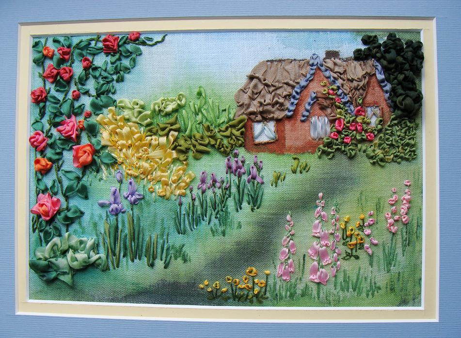 Tatiana Popova embroidery designs, ribbon embroidery kits, buy online, silk ribbon embroidery, ribbon embroidery kits for intermediate level, craft shop, SRe, mauve natural silk ribbon, painting the background for embroidery