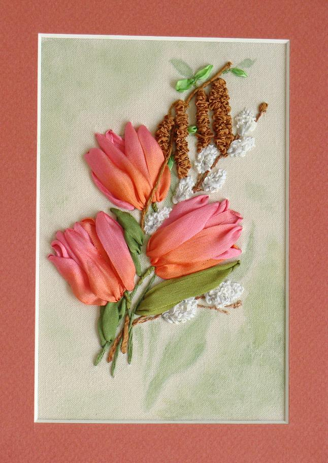 ribbon embroidery kits, buy online, craft shop, silk ribbon embroidery designs, ribbon embroidery, embroidery kits for beginners, ribbon embroidery patterns, silk ribbon tulips, pussy willow and catkins