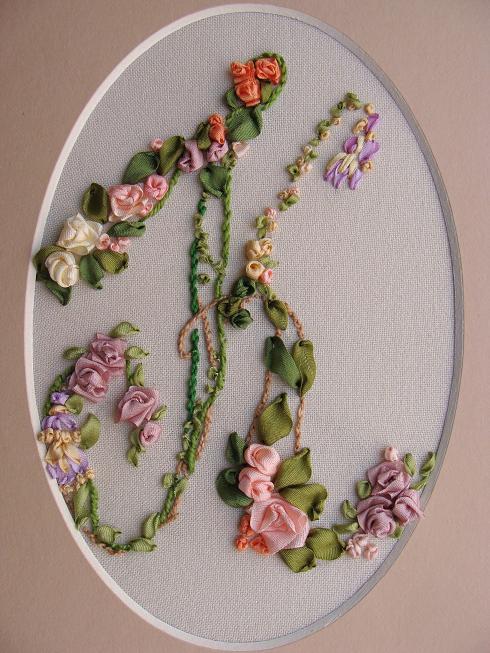 ribbon embroidery monograms, embroidery kits, buy online,  silk ribbon embroidery, embroidery kits for beginners, ribbon embroidery patterns, natural mauve silk ribbon