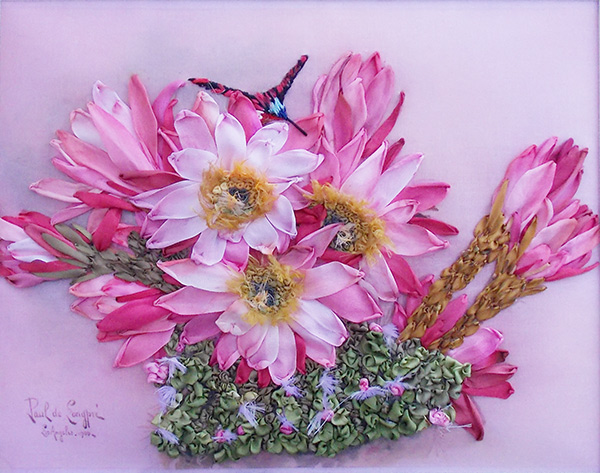 ribbon embroidery, silk ribbon embroidery, silk ribboh, embroidery contest, USA