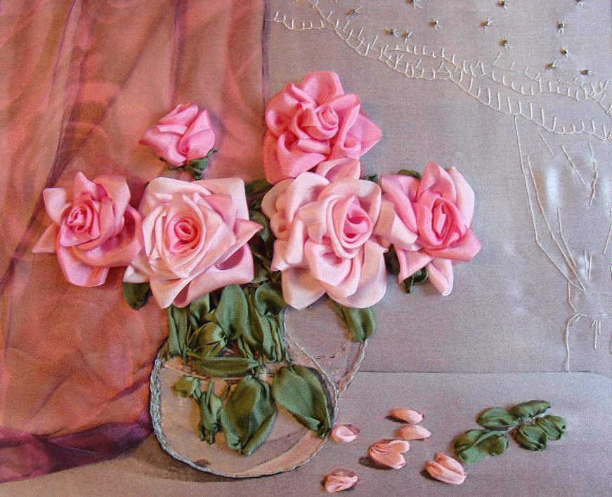 розы вышитые лентами, принты для вышивки лентой, искусство вышивки