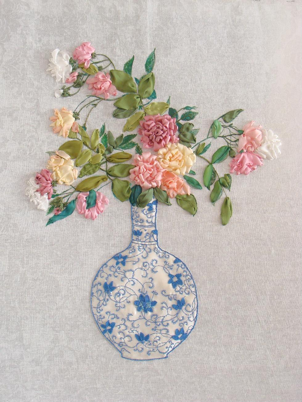 ribbon embroidery, ribbon flowers, SRE, silk ribbon, embroidered roses, silk ribbon roses, painted background, Stumpwork, chinese vase, thread embroidery, art, embroidery designs, hand-made presents