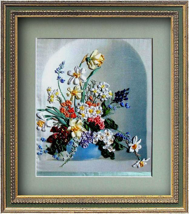 ribbon embroidery flowers, daffodils in silk ribbon, silk ribbon embroidery, ribbon embroidery kits, spring flowers in silk ribbon for beginners