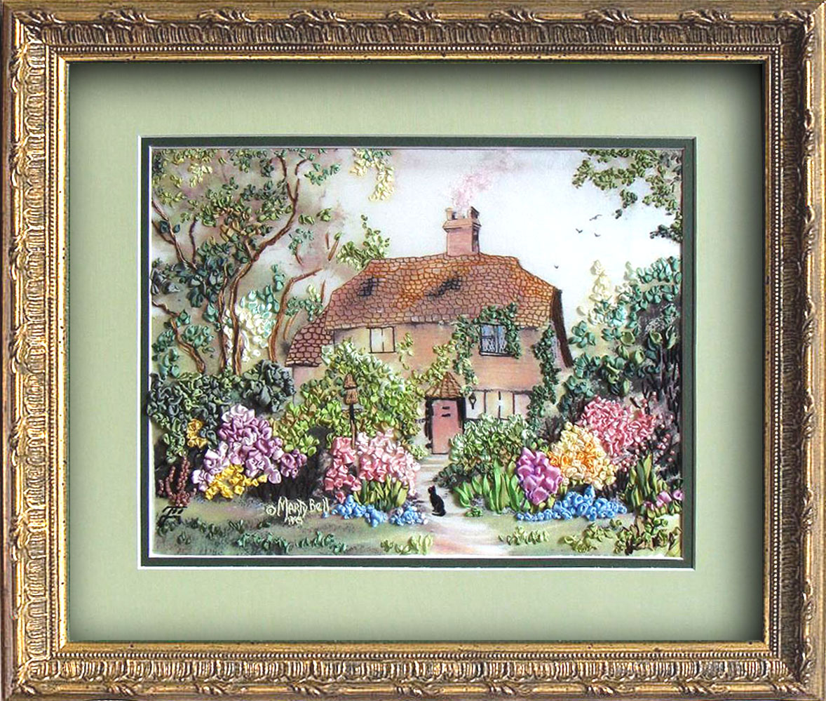 silk ribbon embroidery designs, silk ribbon embroidery, embroidered house, embroidered cat, embroidered garden, embroidered trees, ribbon embroidery kits, designed by Tatiana Popova