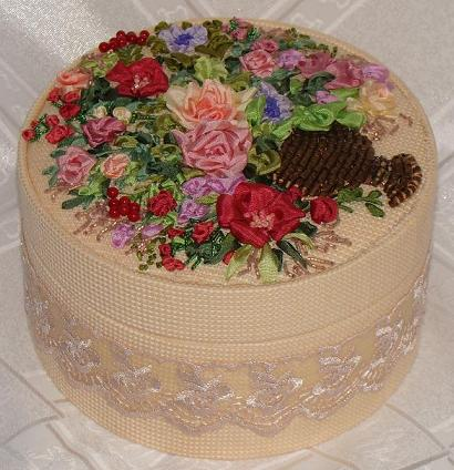 Hand-made presents, holiday gifts, ribbon embroidery kits, silk ribbon, Tatiana Popova designs, buy online, embroidered jewelry boxes, bead embroidery, craft, art, embroidery kits buy in Europe, painting background for embroidery, mauve silk, natural silk ribbon for embroidery.