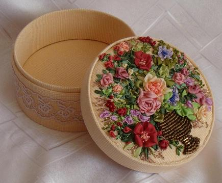 Hand-made presents, holiday gifts, ribbon embroidery kits, silk ribbon, USA, Lithuania, Germany, Chess, Poland, Spane, Tatiana Popova designs, buy online, embroidered jewelry boxes, bead embroidery, craft, art, embroidery kits buy in Europe, painting background for embroidery, mauve silk, natural silk ribbon for embroidery.