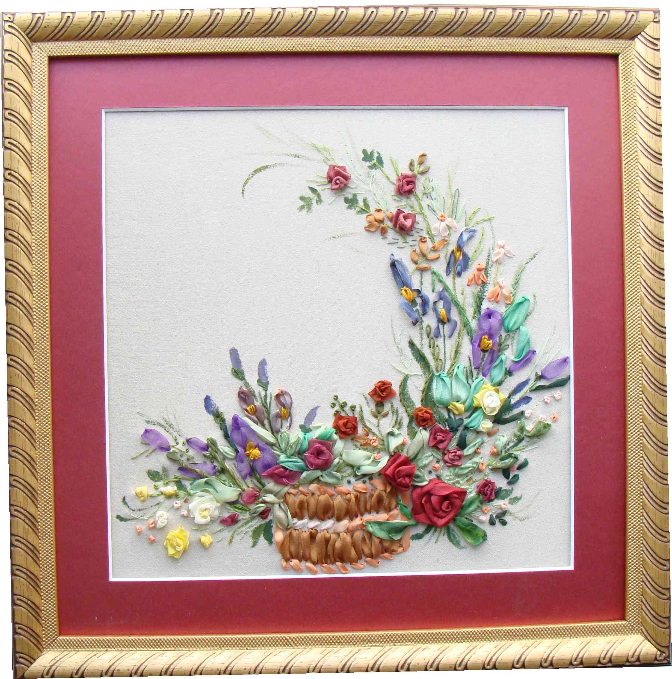 Hand-made presents, holiday gifts, ribbon embroidery kits, silk ribbon, Tatiana Popova designs, buy online, embroidered wall-hanging samples, art, embroidery kits buy in Europe, painting background for embroidery, mauve silk, natural silk ribbon for embroidery.