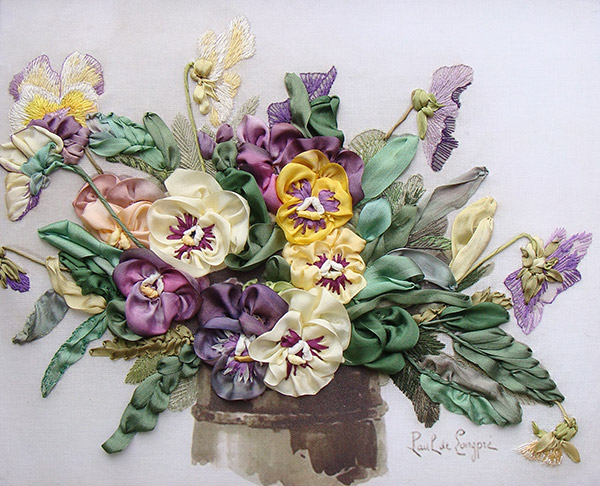 ribbon embroidery, silk ribbon embroidery, silk ribbon pansies, kits for ribbon embroidery, silk ribbon