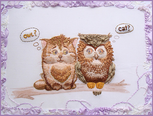 owlets in embroidery, ribbon embroidery, silk ribbon, silk ribbon embroidery, kits for ribbon embroidery