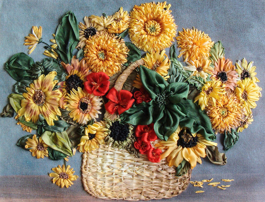 ribbon embroidery sunflowers, silk ribbon embroidery, ribbon flowers, silk ribbon, kits for ribbon embroidery.