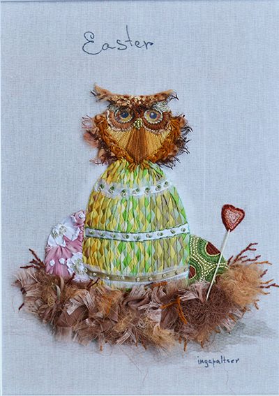 ribbon embroidery owl, silk ribbon owlet, little owl, Easter greetings, Inga Paltser