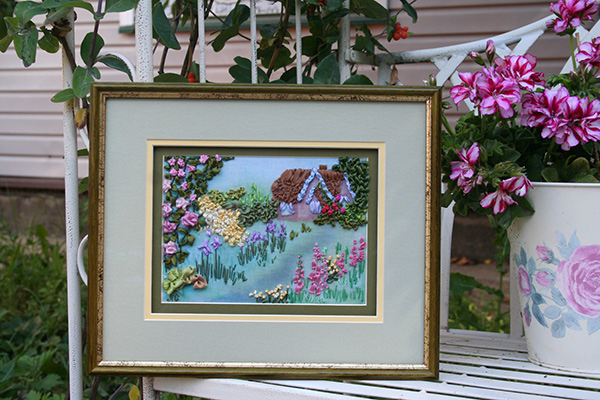 ribbon embroidery contest, silk ribbon embroidery, craft show, embroidered landscapes