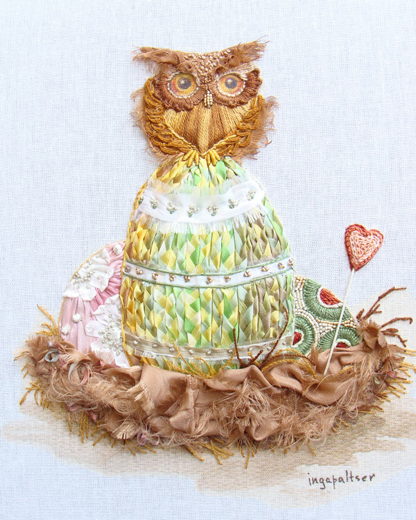 ribbon embroidery, owls in embroidery, Easter designs for embroidery, embroidered owlets, silk ribbon, ribbon embroidery kits