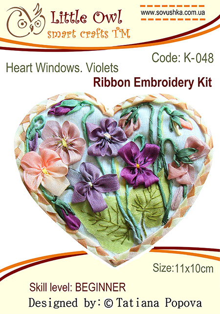 ribbon embroidery, violets, ribbon flowers, silk ribbon, photos, guide for beginners, diagrams, buy