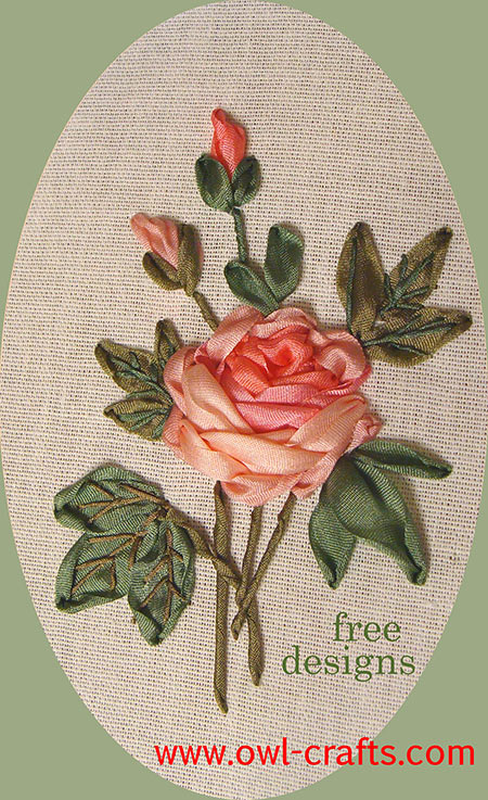 free ribbon embroidery patterns, ribbon embroidery designs for beginners, silk ribbon roses free workshop