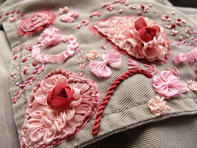 silk ribbon embroidery, bespoke embroidery, custom-made ribbon embroidery, embroidered clothes