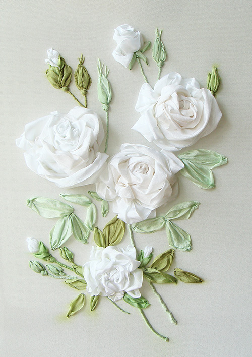 roses in silk ribbon, ribbon embrodiery roses, ribbon embroidery, silk ribbon embroidery, bespoke embroidery, custom-made embroidery