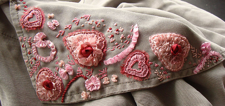 ribbon embroidery, silk ribbon embroidery, bespoke embroidery, custom-made embroidery, embroidered clothes