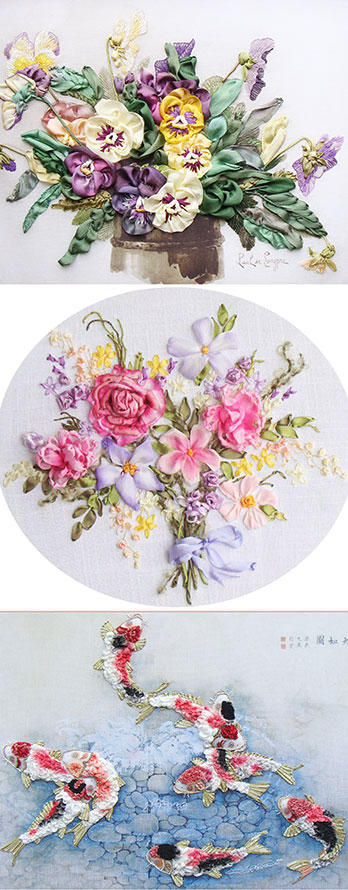 ribbon flowers, ribbon embroidery book, beginner stitch guide, buy silk ribbon, stitching with silk ribbon