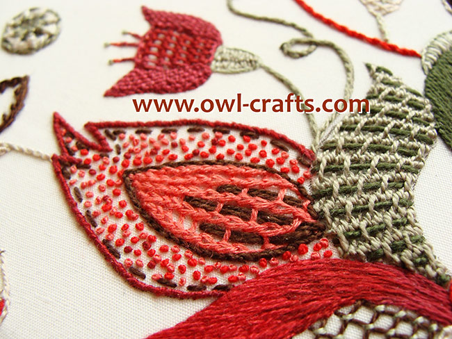 crewel embroidery, crewel designs, crewel embroidery patterns, jacobean crewel, crewel stitches guide.