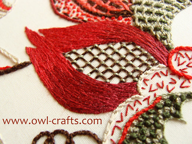 crewel embroidery, crewel designs, crewel embroidery patterns, silk shading, crewel stitches beginners.