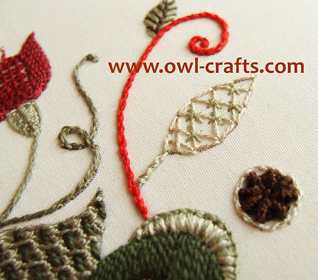crewel embroidery, crewel designs, crewel embroidery patterns, jacobean embroidery, crewel stitches.