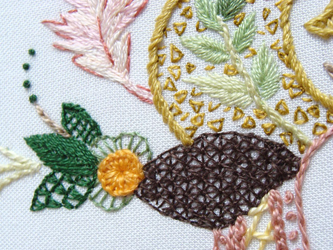 crewel embroidery, jacobean embroidery, crewelwork, crewel work, jacobean technique, crewel stitches