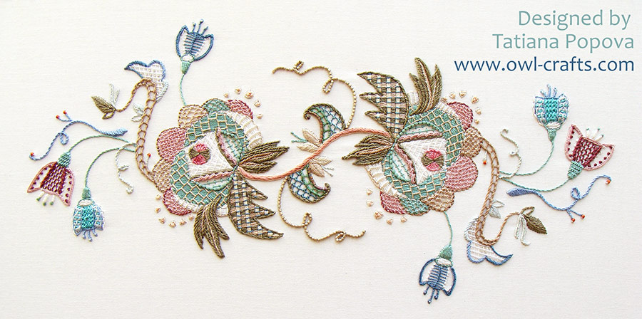 crewel embroidery, jacobean patterns, crewel stitches, fresh ideas for crewel embroidery