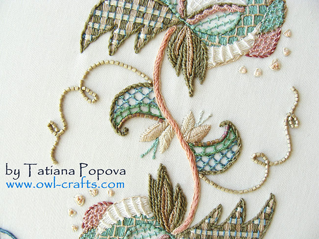 lattice work, crewel embroidery, jacobean patterns, crewel designs, fresh ideas for crewel embroidery