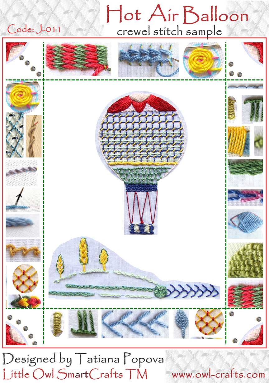 crewel embroidery, crewel stitches, crewel embroidery beginners, stitch guide for crewel embroidery, jacobean stitch sample