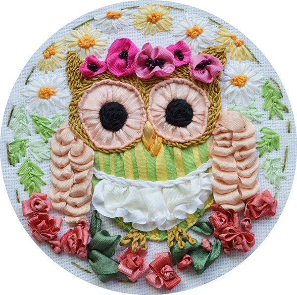ribbon embroidery, silk ribbon, silk ribbon embroidery, ribbon embroidery owlet, kits for ribbon embroidery