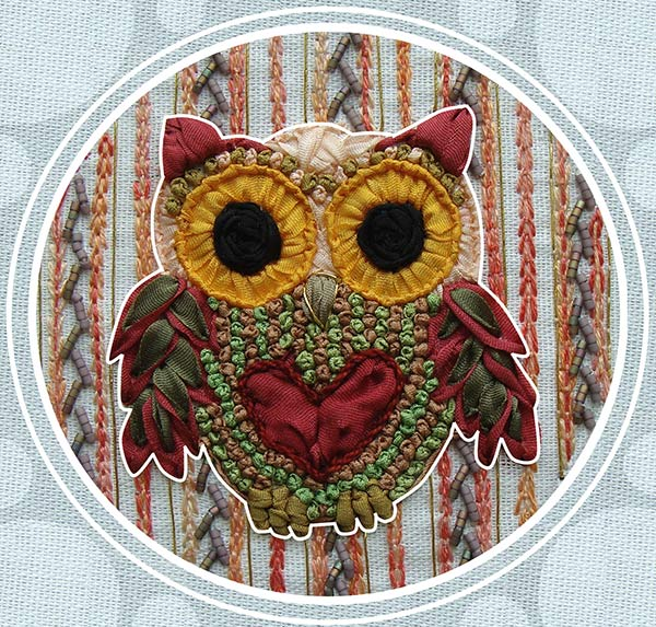 ribbon embroidery, silk ribbon, silk ribbon embroidery, ribbon embroidery owls, kits for ribbon embroidery