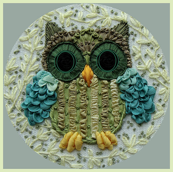 ribbon embroidery, silk ribbon, silk ribbon embroidery, Spring owlet in ribbon embroidery, kits for ribbon embroidery