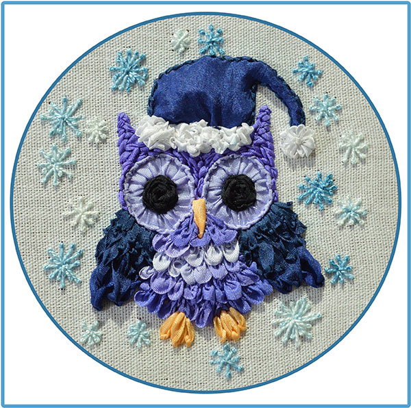 ribbon embroidery, silk ribbon, silk ribbon embroidery, owlets in ribbon embroidery, kits for ribbon embroidery
