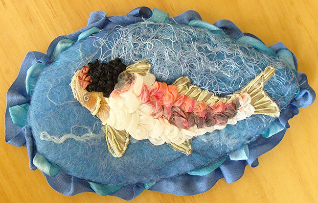 ribbon embroidery, silk ribbon, silk ribbon embroidery, embroidered fish, kits for ribbon embroidery