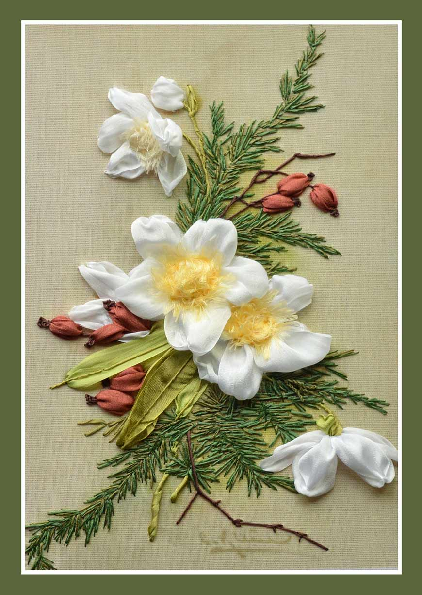 ribbon embroidery, silk ribbon, silk ribbon embroidery, New Year embroidery designs, kits for ribbon embroidery