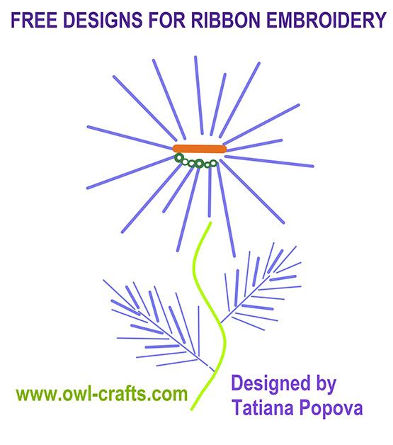 бесплатные схемы для вышивки лентами, вышивка шелковой лентой, схемы вышивки лентой для начинающих