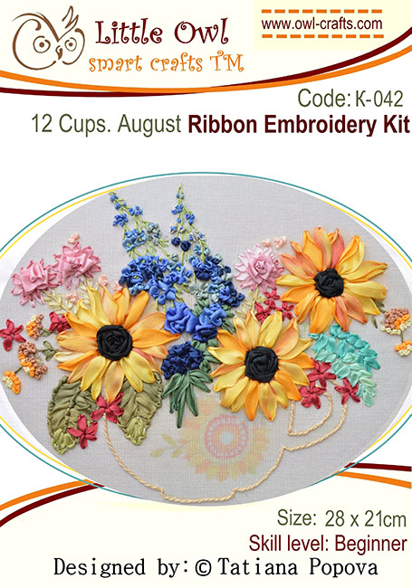 ribbon embroidery kits, silk ribbon embroidery, sunflowers in silk ribbon, stitch guide for beginners in ribbon embroidery