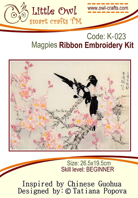 silk ribbon embroidery, ribbon embroidery kit, birds in silk ribbon, ribbon embroidery chinese style