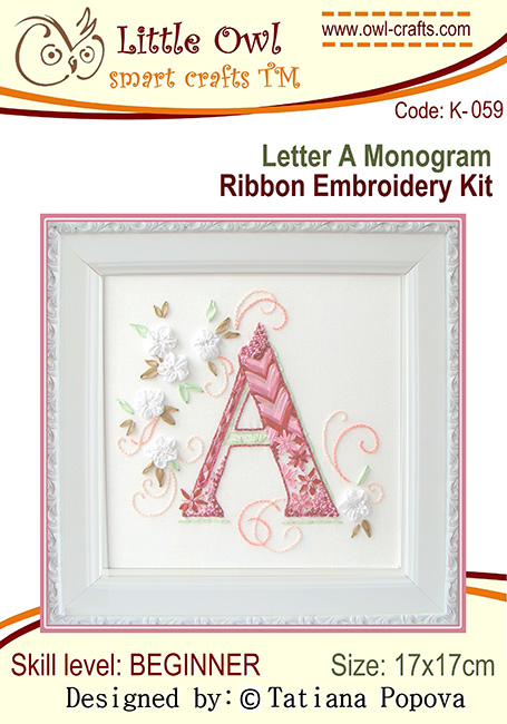 ribbon embroidery kits, silk ribbon embroidery, ribbon embroidery monograms, stitch guide for beginners in ribbon embroidery