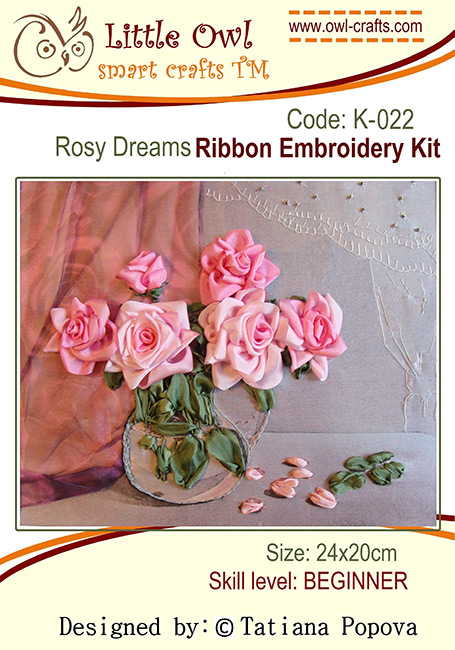 kits for ribbon embroidery, silk ribbon flowers, silk ribbon embroidery, ribbon roses, roses in silk ribbon