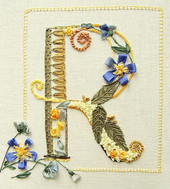 Monograms in silk ribbon embroidery by tatiana popova
