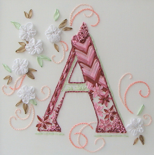 ribbon embroidery, silk ribbon, silk ribbon embroidery, embroidered monograms, kits for ribbon embroidery