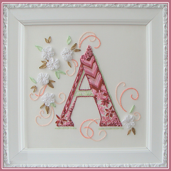 ribbon embroidery designs for beginners download, stitched monograms, Monogram A, letter A design for embroidery, ribbon embroidery kits for beginners