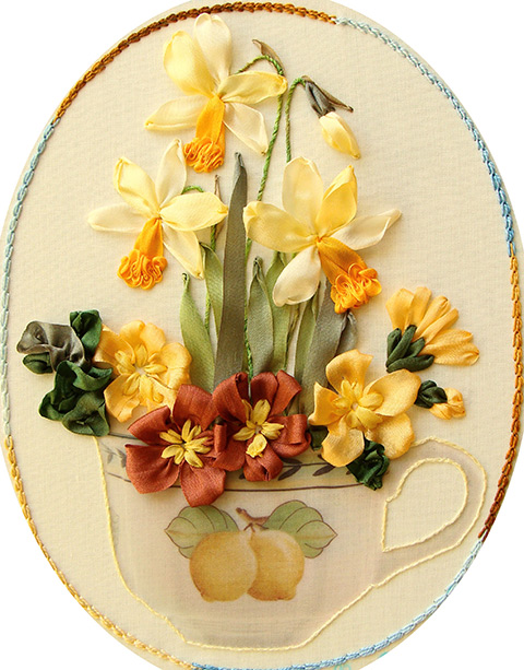 ribbon embroidery, silk ribbon, silk ribbon embroidery, daffodils in ribbon embroidery, kits for ribbon embroidery