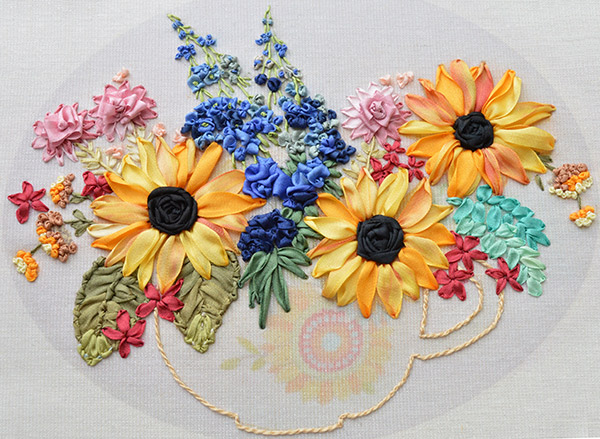 sunflowers in silk ribbon, ribbon embroidery flowers, silk ribbon embroidery kits, ribbonwork
